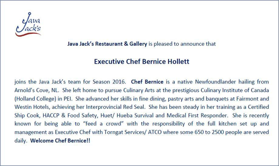 Welcome Chef Bernice 042016